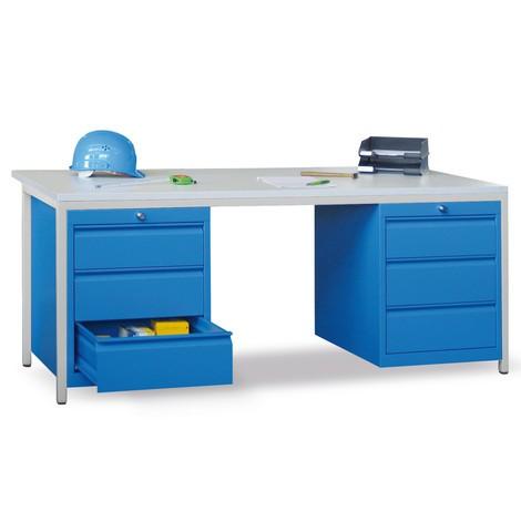 Biurko dla mistrzów zakładowych PAVOY z6 szufladami 2x75 + 2x125 + 2x300 mm, wys. xszer. xgł. 720 x1700 x800 mm