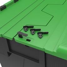 Bloccaggio per contenitore impilabile multiplo con coperchio ribaltabile