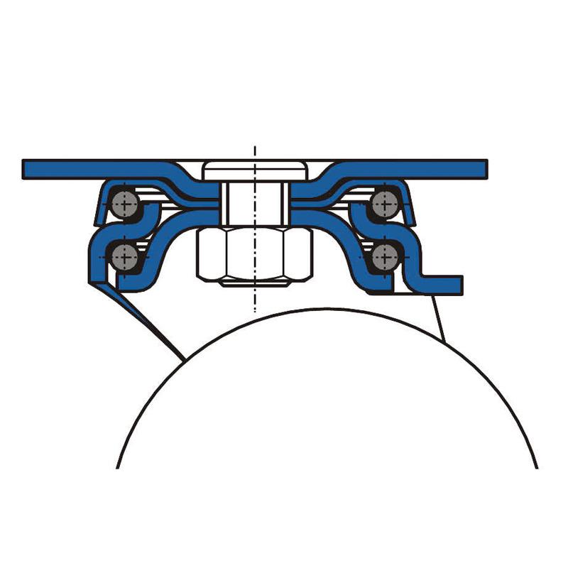 Bockrolle aus Polyamid mit Edelstahlgehäuse. Tragkraft 250 bis 800 kg