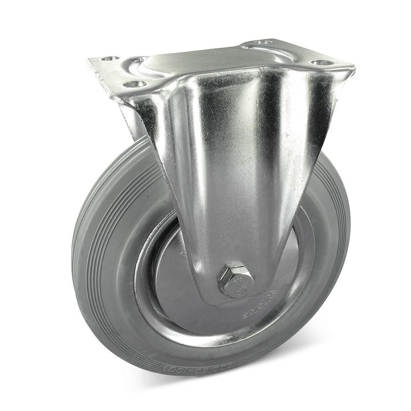 Bockrolle aus Vollgummi, spurlos. Stahlblechfelge. Tragkraft 50 - 205 kg