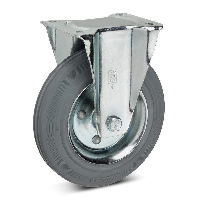 Bockrolle Premium aus Vollgummi, spurlos. Stahlblechfelge. Tragkraft 50 - 205 kg