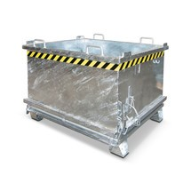 Bottom release container, reinforced flap, galvanised