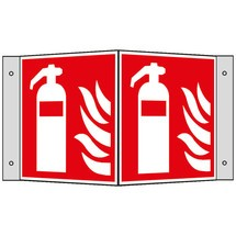 Brandbeveiligingsbord – Brandblusser met vlammen, hoekbord