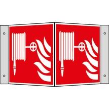 Brandbeveiligingsbord – Brandslang met vlammen, hoekbord