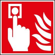 Brandschutzschild – Brandmelder (manuell) mit Flammen