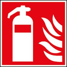 Brandschutzschild Feuerlöscher, Bild: Feuerlöscher und Flammen