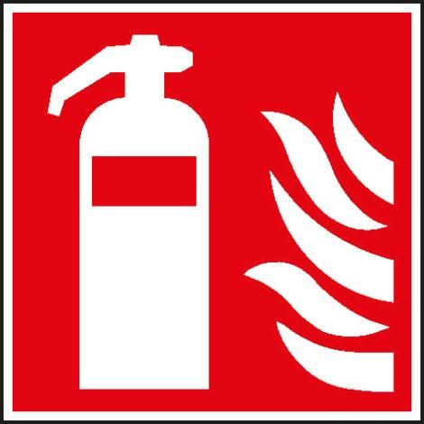 Brandschutzschild – Feuerlöscher mit Flammen