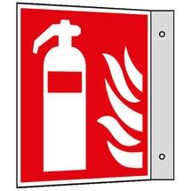 Brandschutzschild – Feuerlöscher mit Flammen, Fahne