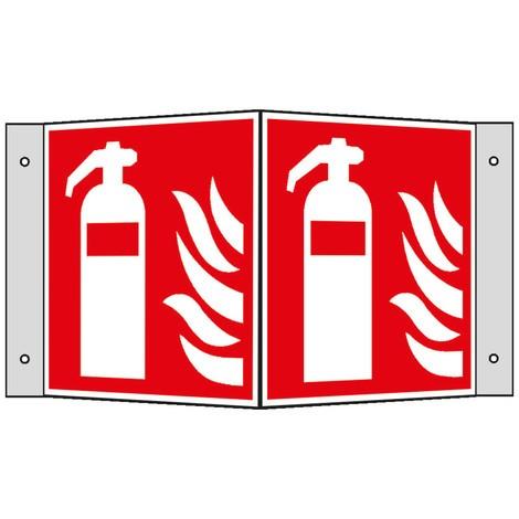 Brandschutzschild – Feuerlöscher mit Flammen, Winkel