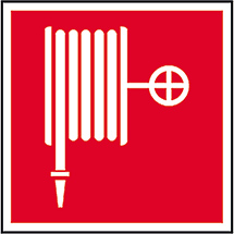 Brandschutzschild Löschschlauch, Bild: Löschschlauch