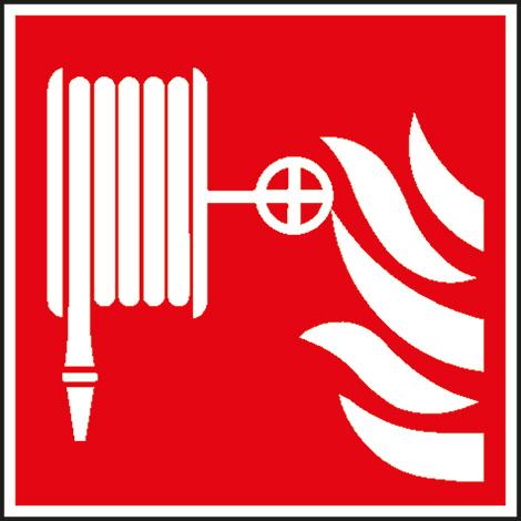 Brandschutzschild Löschschlauch, Bild: Löschschlauch mit Flammen