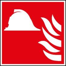 Brandschutzschild – Mittel und Geräte zur Brandbekämpfung, mit Flamme