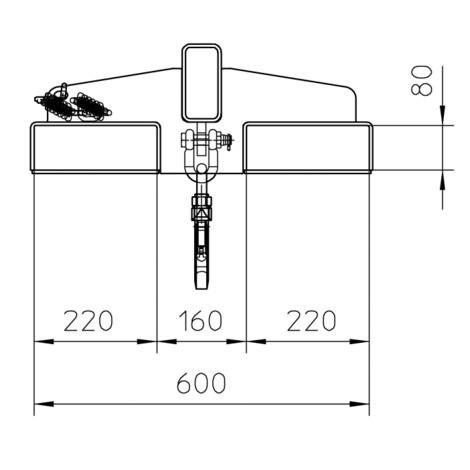 Bras de charge d'une capacité de charge de jusqu'à 1000 kg, jusqu'à 1600 mm de portée, 25° d'inclinaison rigide, 2 positions de crochet