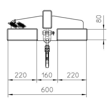 Brazo de carga modelo 3, telescópico, 2 posiciones de gancho