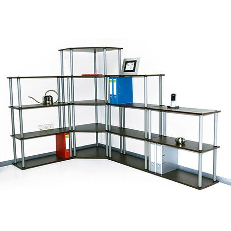 Büro-Eckregal Office. 2 bis 6 Böden, Breite 600 mm, Höhe bis 1800 mm