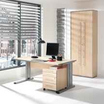 Büro-Komplett-Set Elegant, Schreibtisch, Rollcontainer und Aktenschrank