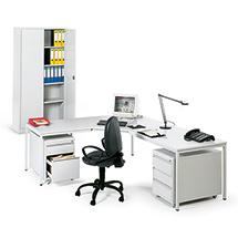 Büro-Komplett-Set: Tisch, Drehstuhl, 2 Rollcontainer, Schrank
