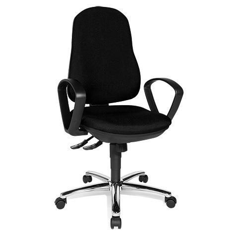 Bürodrehstuhl Topstar® Synchro-Steel II. Inklusive fester Armlehnen. Rückenlehne mit Wirbelsäulenausformung