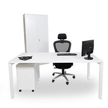 Büromöbel-Set Simplify. Rollcontainer, Schrank und Tisch