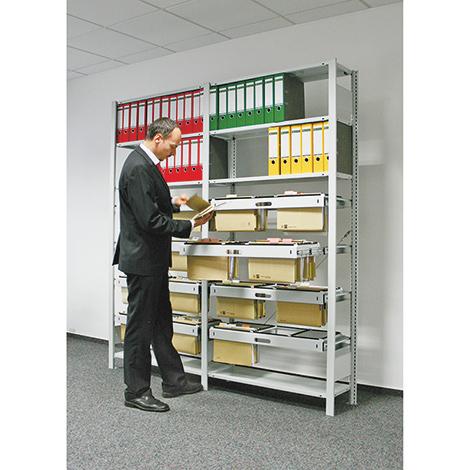 Büroregal mit Hängeregisterauszügen, ein- oder zweiseitig. Grundfeld