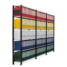 Büroregal Stecksystem, Kompletset 3 Felder, Ständer schwarz, Böden lichtgrau