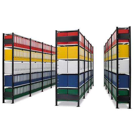 Büroregal Stecksystem, Komplettset 3 Felder, Ständer schwarz, Böden lichtgrau