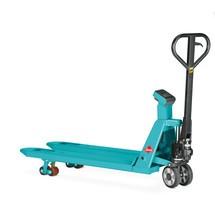 C-Ware Wiege-Hubwagen Ameise®, TK 2.000 kg, 1 kg-Schritte, Tandemrollen, RAL 5018 türkisblau