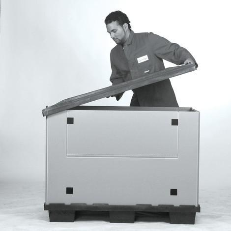 caisse pliante en plastique avec patins jungheinrich profishop. Black Bedroom Furniture Sets. Home Design Ideas