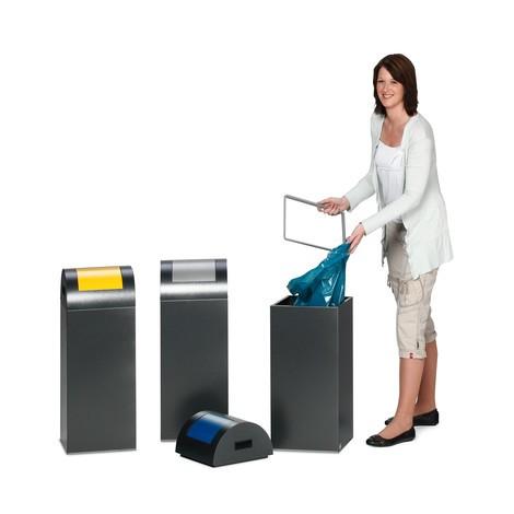Caixote de reciclagem VAR®, 60 litros, autoextinguível, em aço galvanizado e revestido a pó, tampa redonda