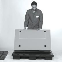 Caja plegable de plástico con patines