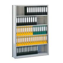 Campata base scaffale per documenti META, monofronte, grigio chiaro