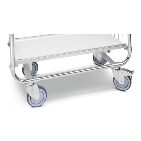 Carrello a scaffale, zincato, 2 pannelli a griglia, lato frontale alto