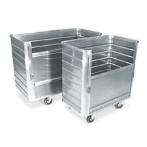 Carrello contenitore in alluminio con parete semi-abbattibile