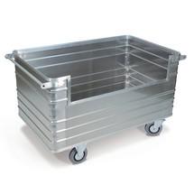 Carrello contenitore in alluminio, parete chiusa con apertura laterale