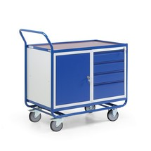 Carrello da officina, armadietto con 4 cassetti, piano di appoggio, capacità di carico 300 kg
