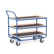 carrello da tavolo in tubolare d'acciaio, capacità di carico 300 kg, 3 livelli da 1.010 x 610 mm, con barra di faggio alta 30 mm