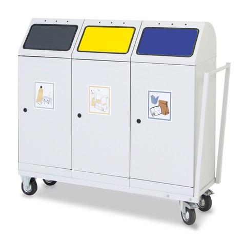 Carrello di trasporto per contenitore per materiali riciclabili stumpf® da 70 litri, sportello basculante