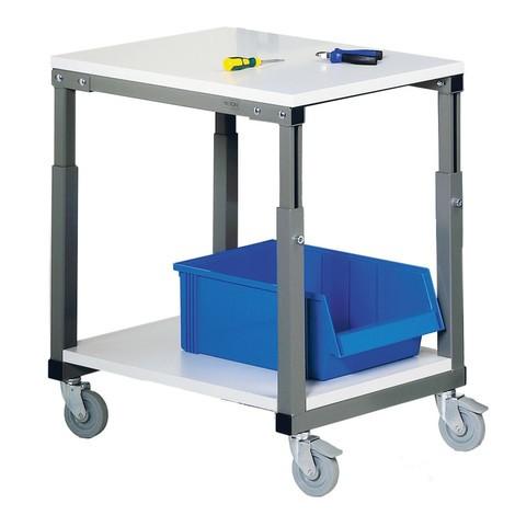 Carro de mesa, capacidad de carga 150 kg, para puestos de trabajo ergonómicos