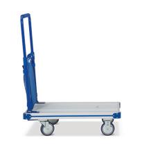 Carro de plataforma de aluminio, abatible. Capacidad de hasta 150 kg.