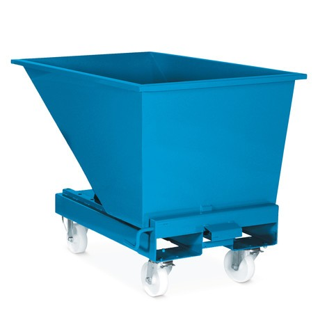 Castor set for tipping containers with automatic emptying