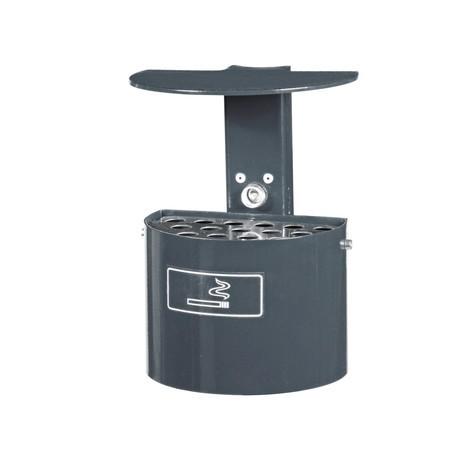 Cendrier rond, avec poteau et toit de protection, 2litres, galvanisé à chaud et revêtu par poudrage