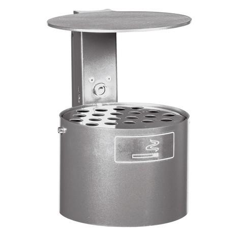 Cendrier rond, avec poteau et toit de protection, 4litres, galvanisé à chaud et revêtu par poudrage