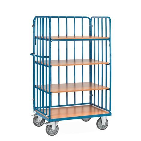 Chariot à étagères de fetra® avec montants tubulaires verticaux, 3ridelles
