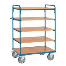 Chariot à étagères fetra® avec tablettes en bois