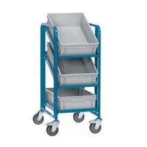 Chariot à étagères pour bacs Euro fetra® avec caisses
