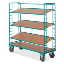 Chariot à étages Ameise®, trois plateaux en bois variables