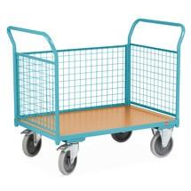 Chariot à plate-forme Ameise®, 3 côtés avec parois grillagées