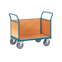 Chariot à plate-forme fetra®, avec ridelles en bois sur les 3côtés