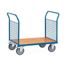 Chariot à plate-forme fetra®, avec ridelles grillagées sur les 2côtés