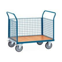 Chariot à plate-forme fetra®, avec ridelles grillagées sur les 3côtés